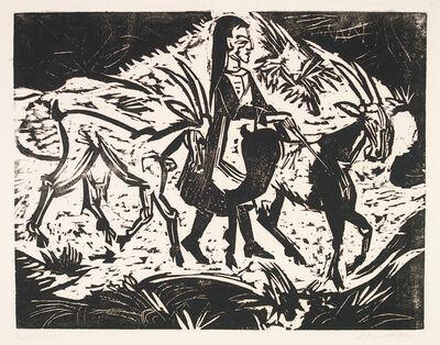 Ernst Ludwig Kirchner, 'Mädchen mit Ziegen (Girl with Goats)', 1917
