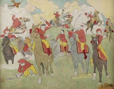 Henry Darger, 'Near Pandanoan, Vivian Girls cornered and captured... Battle Scene on Horseback', n.d.