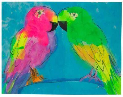Walasse Ting 丁雄泉, 'Love Birds on Blue Brance', 1999