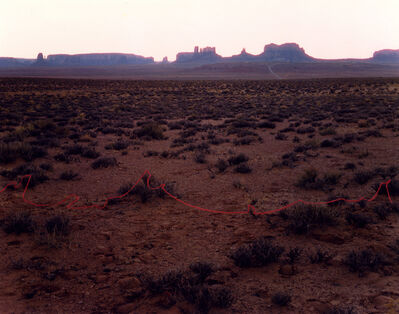 John Pfahl, 'Monument Valley with Red String, Monument Valley, Utah', 1977
