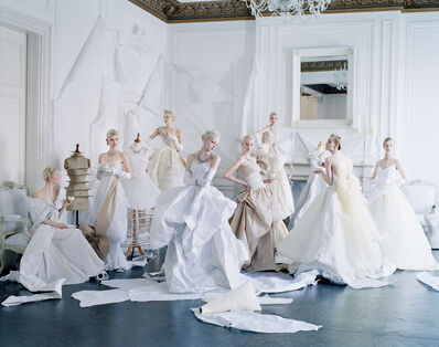Tim Walker, 'Eight models in paper dresses after Cecil Beaton's image of debutantes in Charles James, London', 2012
