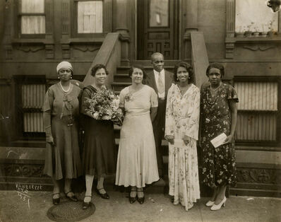 James Van Der Zee, 'untitled (family with flowers in front of building) NYC', 1931