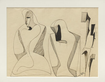 Lorser Feitelson, 'Figure Evolving into Magical Forms', 1946