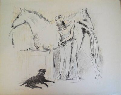 Marcel Vertes, 'Circus Lovers (Horse & Dog)', 1940-1949
