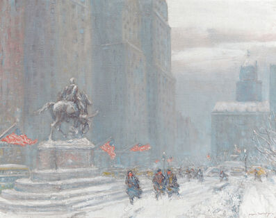 Johann Berthelsen, 'Grand Army Plaza with Statue of General Sherman ', 1942