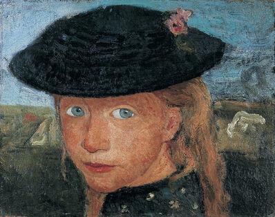 Paula Modersohn-Becker, 'Tête d'une Jeune Fille Blonde Coiffée d'un Chapeau de Paille', 1904