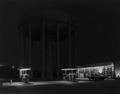 George Tice, 'Petit's Mobil Station and Watertower, Cherry Hill, New Jersey', 1974