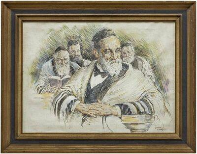 Samuel George Cahan, 'Vintage Illustration Judaica Painting, The Rabbi's (Men at Prayers)', Mid-20th Century
