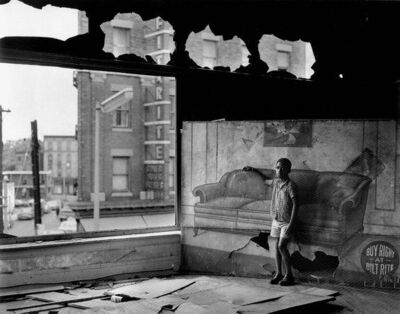 Arthur Tress, 'Boy in burnt out furniture Store,New Jersey', 1969