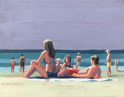 """Paul Norwood, '""""Late Day Color"""" acrylic painting of colorful beach scene with gray sky', 2020"""