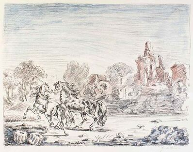 Giorgio de Chirico, 'Cavalli e rovine', 1954