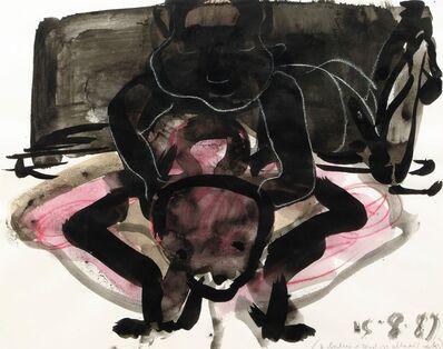 Marlene Dumas, '2 Babies zittend op elkaars nek', 1989