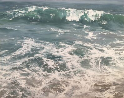 """Annie Wildey, '""""Wave on Shore"""" oil painting of a wave crashing on the shore in light blues and greens', 2010-2017"""