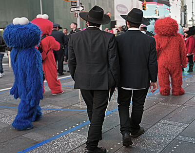 Neil O. Lawner, 'Hassidic Men And Sesame Characters'