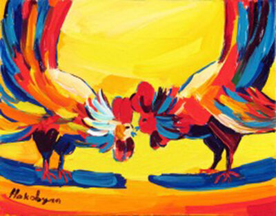 Harout Hakobyan, 'Two Roosters', ca. 2000