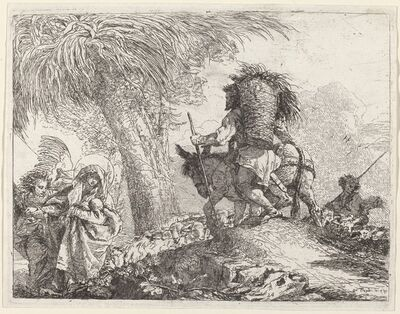 Giovanni Domenico Tiepolo, 'The Flight, Joseph at Right and Mary and Angel at Left', published 1753