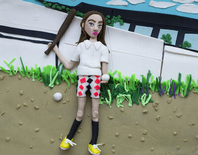 Eleanor Macnair, 'Original photograph: Girl with bat and ball, 1977 by Mark Cohen rendered in Play-Doh', 2019