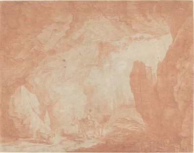 Hubert Robert, 'Young Woman with Donkeys Riding under a Natural Bridge'