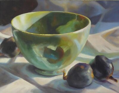 Kathrine Lemke Waste, 'Green Bowl, Black Figs'