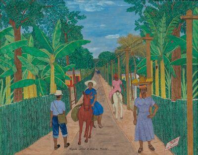 Philomé Obin, 'Paysans sortant et allante au Marché', ca. 1950-1952