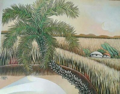 "Prokash Karmakar, 'Landscape, Village, Acrylic on Canvas, Green by Modern Indian Artist ""In Stock""', 2009"