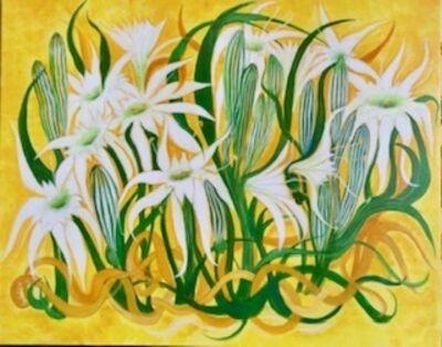 Laila Shawa, 'Beach Lillies on Yellow Background', 2016