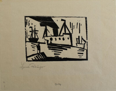 Lyonel Feininger, 'Ships [with Man on a Pier] ', 1920