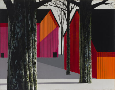 Eyvind Earle, 'Red Barns and Tall Trees Casting Shadows in a Snow Covered Precisionist Landscape', 1970