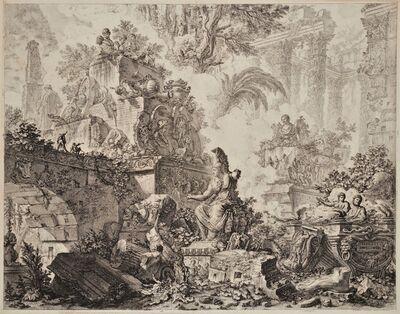 """Giovanni Battista Piranesi, '""""Fantasy of Ruins with the Statue of Minerva"""". The frontispiece for the """"Vedute di Roma""""', ca. 1748"""