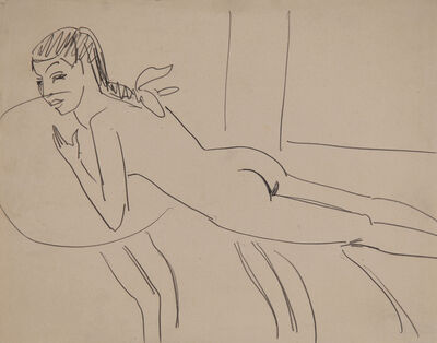Ernst Ludwig Kirchner, 'Liegender Mädchenakt (Fränzi) (Reclining Nude Girl (Fränzi))', 1910