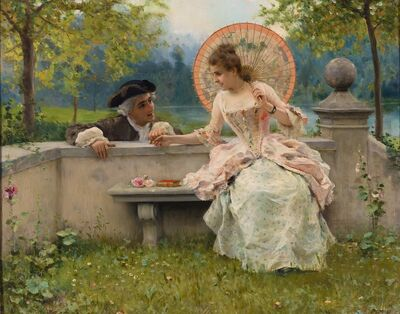 Federico Andreotti, 'A Tender Moment in a Garden (In Love) Oil on canvas', 19th Century