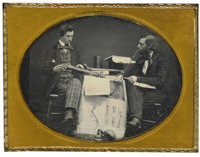 Anonymous American Photographer, 'Dr. Charles Linnaeus Allen Studying Anatomy with Student', circa 1855