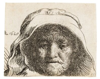 Rembrandt van Rijn, 'The artist's mother: head only, full face', 1628