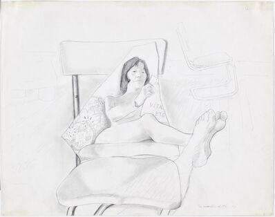 Maria Lassnig, 'The murder of ML I. Abendlekt�re', 1973