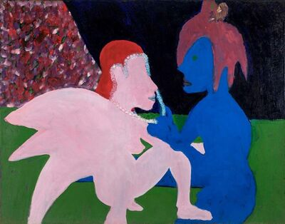 Bob Thompson, 'Adoration (Pink and Blue Figures)', 1962