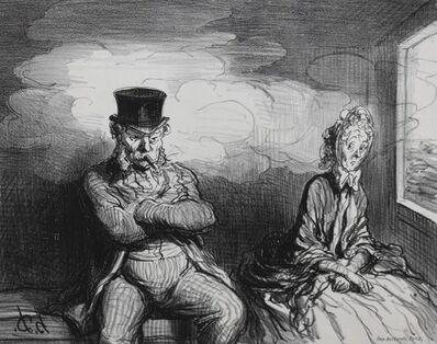 Honoré Daumier, 'En Chemin de Fer — Un Voisin Agréable', 1862