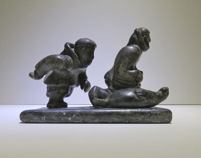 Natak, 'Two figures running next to seal', ca. 1960