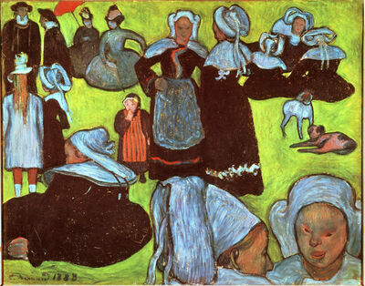 Émile Bernard, 'Breton Women in a Green Pasture, or The Pardon', 1888