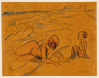 Max Pechstein, 'Frau mit Kind am Strand (Woman and Child at the Beach)', 1919