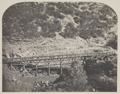 Carleton E. Watkins, 'Rail Road Bridge / Railroad Bridge, Cape Horn', 1860