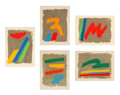 Jack Bush, 'Suite of 5 - Low Sun, Yellow Mark, Three and Blue Loop, Red M, Green Loop P.P.', 1971