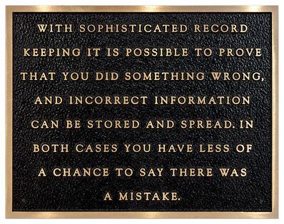 Jenny Holzer, 'Sophisticated Record...', ca. 1990