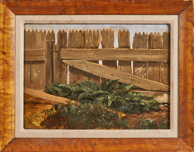 "Jerome Thompson, '""Rhubarb Patch (Old Oak Bucket)""'"