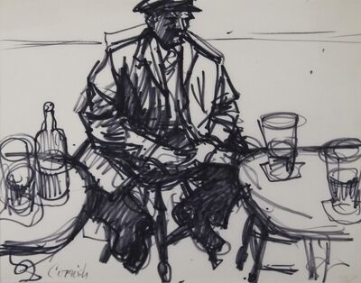Norman Cornish, 'Man sitting on stool between two tables ', C 1965