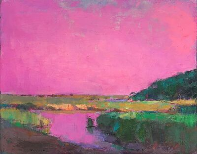 """Larry Horowitz, '""""Aurora Pink Marsh"""" oil painting of a green marsh with a vibrant pink sky', 2018"""
