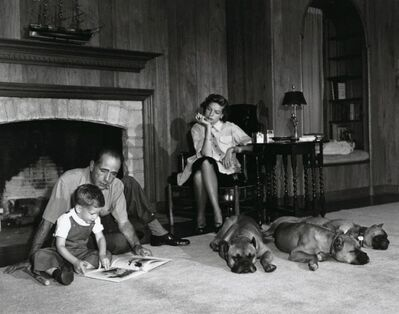 Sid Avery, 'Lauren Bacall & Bogart with their Son and Dogs', 1952