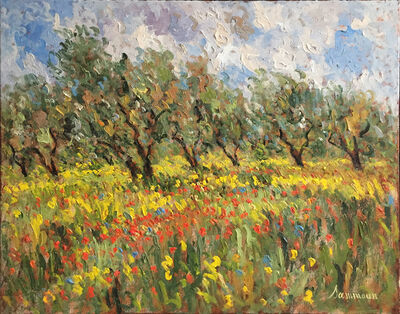 Samir Sammoun, 'Olive Trees and poppies', ca. 2017