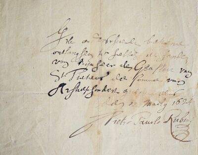 Peter Paul Rubens, 'Autographed receipt by Pierre Paul Rubens', 1624