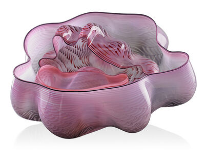 Dale Chihuly, 'Three-piece pink and red Seaform set with black lip wrap', 1982