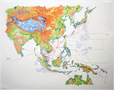 Tiffany Chung, 'reconstructing an exodus history: boat trajectories in Asia', 2017